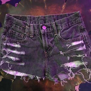 Grey Levi's cutoff shorts